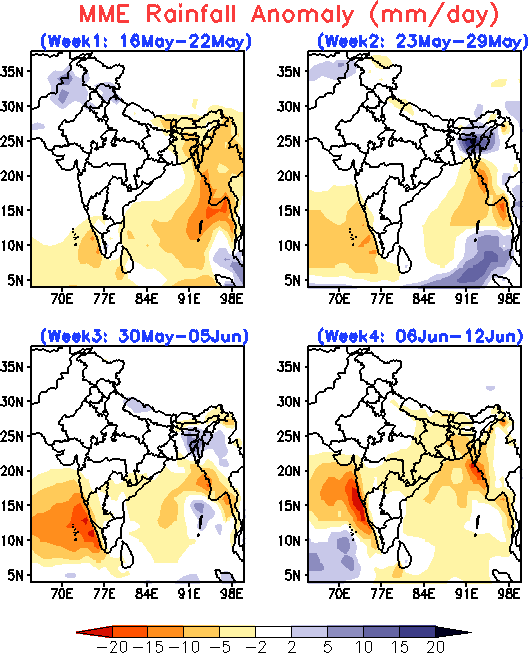 Rainfall Anomaly Forecast for the next 4 weeks, IITM-ERPAS