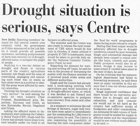 Dealing with drought needs to be the primary goal with regard to directors throughout this state